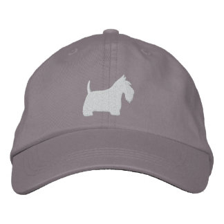 White Scottish Terrier Silhouette Baseball Cap