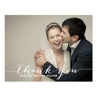 White Script Wedding Photo Thank You Postcard