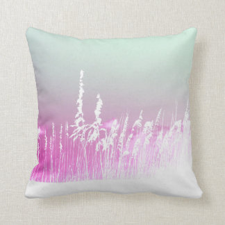 white sea oats pink yellow sky Florida beach image Throw Pillow