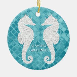 White Seahorses Aqua Sea Glass Personalize Christmas Ornament