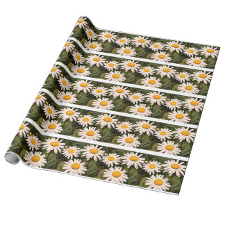 White  Shasta Daisy Linen Wrapping Paper Wrapping Paper