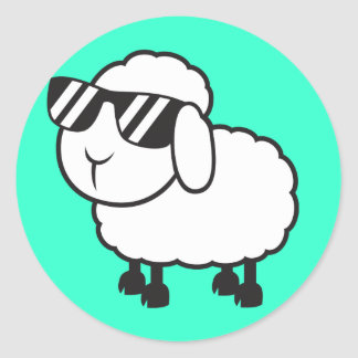 White Sheep in Sunglasses Cartoon Classic Round Sticker