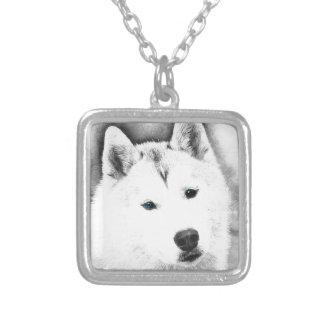 White Siberian Husky w/ Blue Eyes Fine Art Sketch Silver Plated Necklace