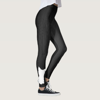 White Silhouette Dog Digital Black Metal Leggings
