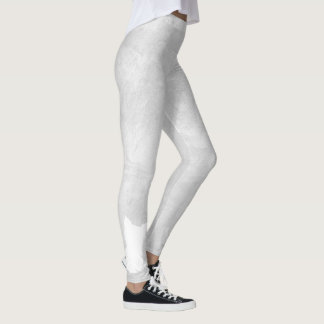 White Silhouette Dog Grey Stucco Leggings
