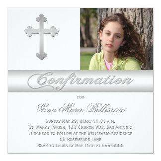 White Silver Stripes Confirmation Photo Invitation