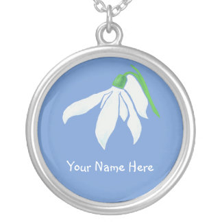 White Snowdrop Flower on Powder Blue Silver Plated Necklace