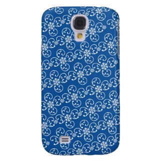 white snowflake damask on winter blue galaxy s4 case