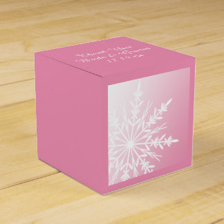 White Snowflake on Pink Winter Wedding Favour Box
