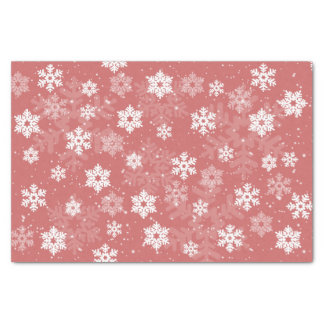 White Snowflakes on pink textured Tissue Tissue Paper
