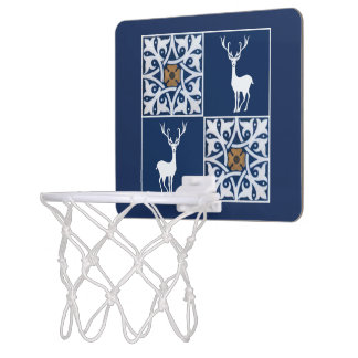 White Stag and Decorative Squares Pattern Mini Basketball Hoop