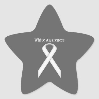 White Standard Ribbon Star Sticker