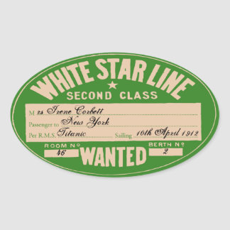 White Star Line (To customize) Oval Sticker