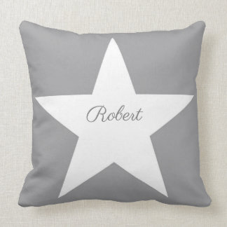 White Star Modern Stylish Grey Background Monogram Cushion