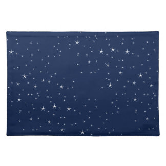 White Stars Navy Blue Background Pattern Placemat