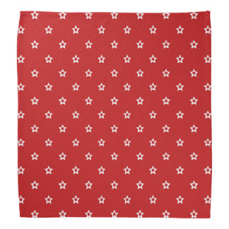 White Stars on Bright Red Bandana