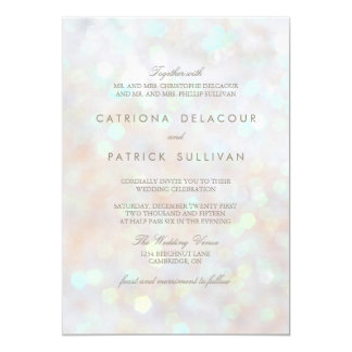White Subtle Glitter Bokeh Wedding Invitation