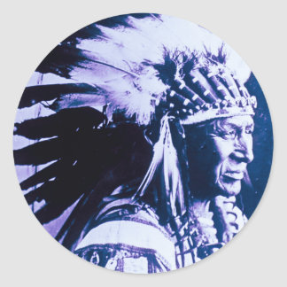 White Swan Sioux Chief Lakota Vintage Classic Round Sticker
