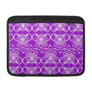 White Swirls Floral Pattern On Neon Purple MacBook Sleeve