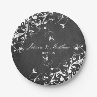 White Swirls On Chalkboard 7 Inch Paper Plate