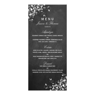 White Swirls On Chalkboard Wedding Menu Rack Cards