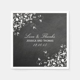 White Swirls On Chalkboard Wedding Napkins Paper Napkins