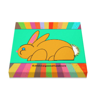 White tailed bunny on colorburst and sea green gallery wrap canvas