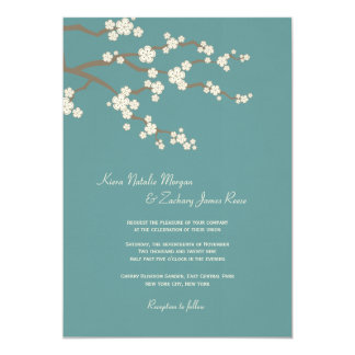 White Teal Sakura Cherry Blossoms Wedding Invite