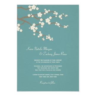 """White Teal Sakura Cherry Blossoms Wedding Invite 5"""" X 7"""" Invitation Card"""