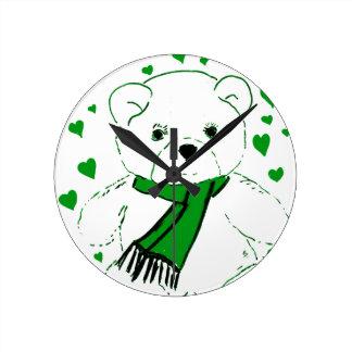 White Teddy Bear with Bright Green Heats Wall Clocks