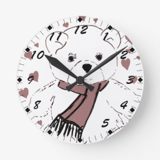 White Teddy Bear with Cranberry Red Hearts Clocks