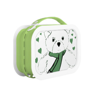 White Teddy Bear with Dark Green Hearts Yubo Lunchboxes