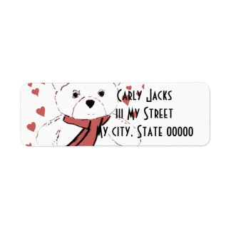 White Teddy Bear with Dusky Red Hearts Return Address Label