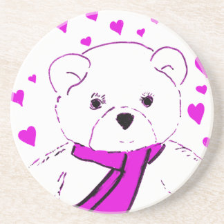 White Teddy Bear with Magenta Hearts Coaster