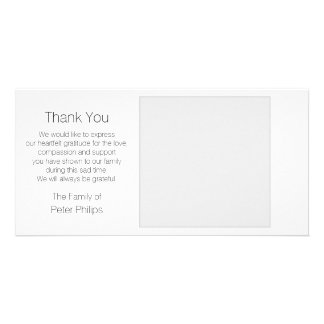 White Template Sympathy Thank you + Gray Border Customised Photo Card