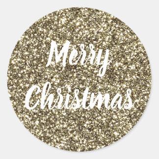 White Text on Gold Glitter Look Elegant Christmas Classic Round Sticker