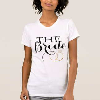 White THE BRIDE Golden Rings Bachelorette T-Shirt