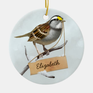 White throated sparrow Customize Name Christmas Ornament