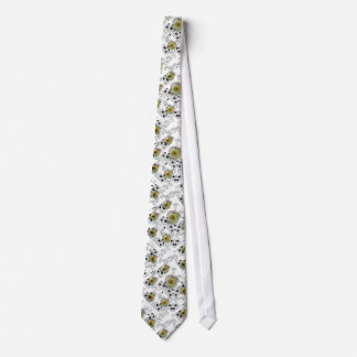 white tie with tender flowers and notes