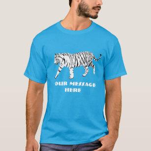 White Tiger Illustration Custom Message Graphic T-Shirt
