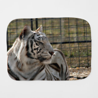 white tiger looking right animal image baby burp cloths