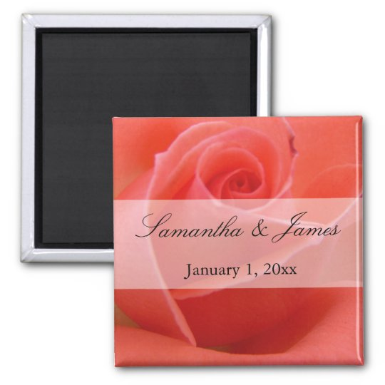 White Tipped Pink Rose Personal Wedding Magnet