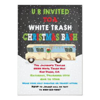 White Trailer Trash Christmas Party Bash 13 Cm X 18 Cm Invitation Card