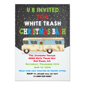 White Trailer Trash Christmas Party Bash Card