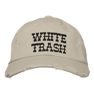 WHITE TRASH EMBROIDERED HAT