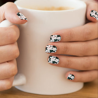White Tropical Flowers Pattern Minx Nail Art