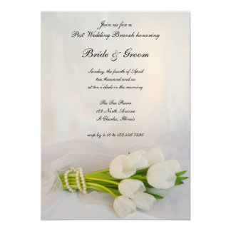 White Tulip Bouquet Post Spring Wedding Brunch Card
