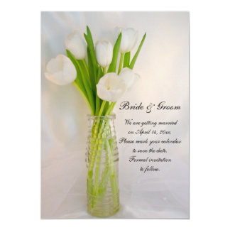 White Tulip in Bottle Spring Wedding Save the Date Card