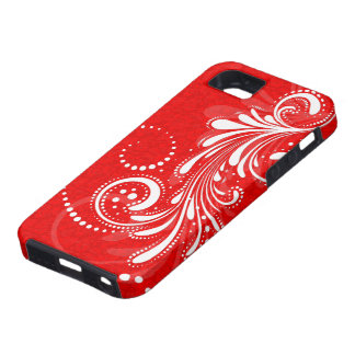 White Vintage Floral Swirl Red Damasks 2 Case For The iPhone 5