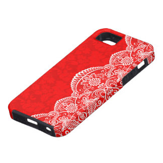 White Vintage Lace Red Damasks Case For The iPhone 5